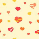 Het naadloze patroon van harten Babyachtergrond met kleurrijke harten en handen Vector illustratie Vlakke achtergrond voor ontwer royalty-vrije illustratie