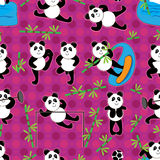 Het Naadloze Patroon van het Bamboe van de Vlek van de panda Royalty-vrije Stock Afbeelding