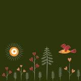 Het naadloze patroon van het beeldverhaal met vogel en bomen Stock Afbeeldingen
