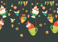 Het Naadloze Patroon van het Beeldverhaal van Kerstmis Stock Afbeeldingen