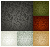 Het naadloze Patroon van het Behang, reeks van zes kleuren Stock Afbeelding
