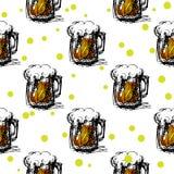 Het naadloze patroon van het bier Stock Afbeelding