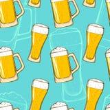 Het naadloze patroon van het bier Royalty-vrije Stock Afbeelding