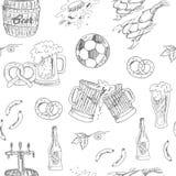 Het naadloze patroon van het bier Vector illustratie Stock Afbeeldingen