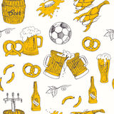 Het naadloze patroon van het bier Vectorillustratie van bier voor ontwerp Stock Foto