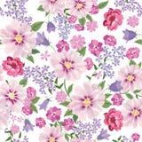 Het naadloze patroon van het bloemboeket Bloemen behang Bloei gree Royalty-vrije Stock Foto's