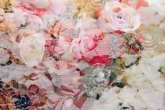 het Naadloze patroon van het boeketontwerp op stof als achtergrond Stock Foto