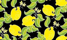 Het naadloze patroon van het citroenfruit op zwarte achtergrond vector decorat Stock Fotografie