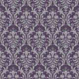 Het naadloze patroon van het damast in purper en grijs Stock Afbeeldingen