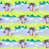 Het naadloze patroon van het de zomerstrand Idyllisch overzees landschap met mounta vector illustratie
