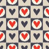 Het naadloze patroon van het gekrabbel geometrische hart Stock Afbeeldingen