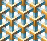 Het naadloze patroon van het goud en van het glas Vector Illustratie