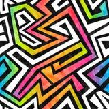 Het naadloze patroon van het graffitilabyrint met grungeeffect Stock Fotografie