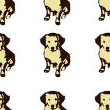 Het naadloze patroon van het hond puppie Golden retriever Stock Foto