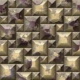 Het naadloze patroon van het hulp 3d mozaïek van gekraste gouden en bruine afgeschuinde vierkanten en piramidale blokken Stock Afbeeldingen