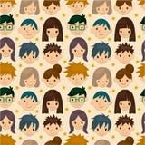 Het naadloze patroon van het jonge mensengezicht Stock Foto