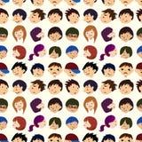 Het naadloze patroon van het jonge mensengezicht Stock Fotografie