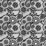 Het naadloze patroon van het kant met bloemen Stock Fotografie