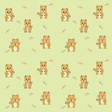 Het naadloze patroon van het kattenbeeldverhaal, vectorillustratie Royalty-vrije Stock Afbeelding