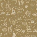 Het naadloze patroon van het keukenmateriaal Stock Foto