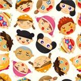 Het naadloze patroon van het kindgezicht Stock Foto's