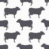 Het naadloze patroon van het koesilhouet De achtergrond van het rundvleesvlees Stock Afbeelding