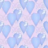 Het naadloze patroon van het lapwerkontwerp met harten en elementen backg Stock Afbeelding
