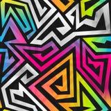 Het naadloze patroon van het regenbooglabyrint Stock Foto