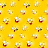 Het naadloze patroon van het smileygezicht met grappige gelaatsuitdrukkingen stock illustratie