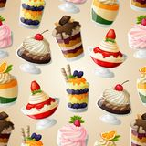 Het naadloze patroon van het snoepjesdessert Royalty-vrije Stock Afbeeldingen