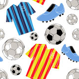 Het naadloze patroon van het voetbal Stock Foto