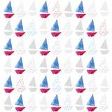 Het naadloze patroon van het waterverfschip Stock Afbeelding