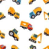 Het Naadloze Patroon van het werkvrachtwagens Vector illustratie Stock Foto