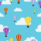 Het Naadloze Patroon van hete Luchtballons Royalty-vrije Stock Fotografie