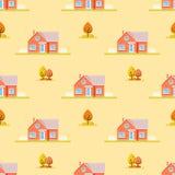 Het naadloze patroon van huizen Royalty-vrije Stock Foto