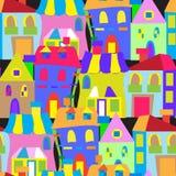 Het naadloze patroon van huizenkrabbels Stock Foto