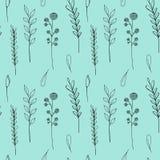 Het naadloze patroon van inktwildflowers Nam de hand getrokken papaver, klis, tarwe, wild gras, kamille, korenbloem, geranium toe royalty-vrije illustratie