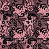 Het naadloze patroon van het kant met bloemen Royalty-vrije Stock Foto's