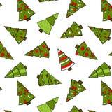 Het Naadloze Patroon van kerstbomen. Stock Foto
