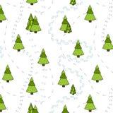 Het Naadloze Patroon van kerstbomen en van Sporen. Royalty-vrije Stock Fotografie