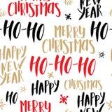 Het naadloze patroon van Kerstmis Achtergrond met hand het getrokken van letters voorzien vectorontwerpillustratie Royalty-vrije Stock Foto