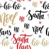 Het naadloze patroon van Kerstmis Achtergrond met hand het getrokken van letters voorzien vectorontwerpillustratie Royalty-vrije Stock Fotografie