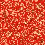 Het naadloze patroon van Kerstmis De achtergrond van de vakantie Royalty-vrije Stock Afbeeldingen