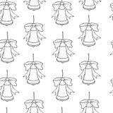 Het naadloze patroon van Kerstmis en van het Nieuwjaar Vectorvakantie zwarte witte achtergrond met klokken voor het ontwerp van d vector illustratie