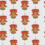 Het naadloze patroon van Kerstmis en van het Nieuwjaar Vectorvakantieachtergrond met klokken voor groetkaart ontwerp en verpakkin vector illustratie