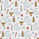 Het naadloze patroon van Kerstmis en van het Nieuwjaar Vectorvakantieachtergrond met maan, kaars en sterren voor het ontwerp van  stock illustratie
