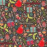 Het naadloze patroon van Kerstmis en van het Nieuwjaar Royalty-vrije Stock Afbeelding