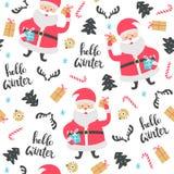 Het naadloze patroon van Kerstmis met de Kerstman Royalty-vrije Stock Fotografie