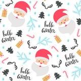 Het naadloze patroon van Kerstmis met de Kerstman Royalty-vrije Stock Afbeeldingen