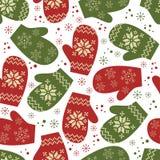 Het naadloze patroon van Kerstmis met de wintervuisthandschoenen Stock Foto